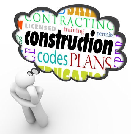 Construction words in a thought cloud over a thinking person such as licensed, training, codes, plan, contracting, skills, laws, permits and more