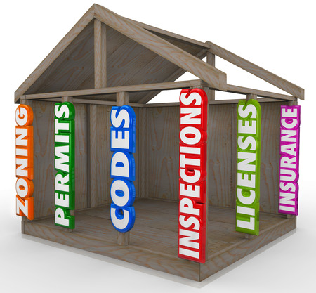 licensed: A wooden house frame new construction project with 3d words on the 2 x 4 beams, including zoning, permits, codes, inspections, licenses and insurance