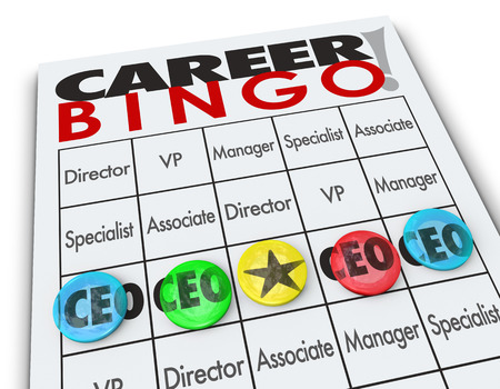 reigning: CEO or Chief Executive Officer word on a Career Bingo card or game board to illustrate winning the top position at a company or business Stock Photo
