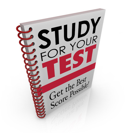cramming: Study for Your Test and Get the Best Score Possible words as the title and subtitle on a book cover promising to help you prepare for a quiz or exam in school, training, course or college Stock Photo