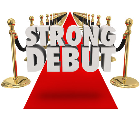 prestige: Strong Debut words on a red carpet next to gold stanchions and black velvet ropes to illustrate getting media or press attention for the launch of a new business, product or event