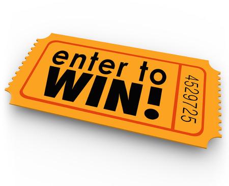 Geben Sie, um Wörter auf einem orangefarbenen Ticket für ein Gewinnspiel oder jackpt Zeichnung gewinnen, wo man Glück haben könnte und der Gewinner von Bargeld oder anderen großen wertvollen Preisen sein Standard-Bild