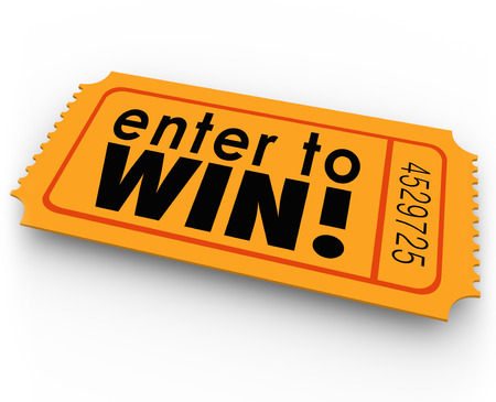 Geben Sie, um Wörter auf einem orangefarbenen Ticket für ein Gewinnspiel oder jackpt Zeichnung gewinnen, wo man Glück haben könnte und der Gewinner von Bargeld oder anderen großen wertvollen Preisen sein Standard-Bild - 29194230