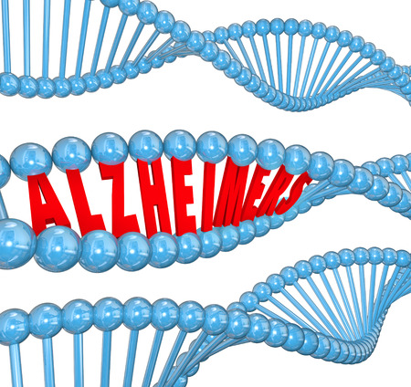 antidote: Alzheimers disease 3d letters in a strand of dna to illustrate medical research looking at genes for a cause and cure
