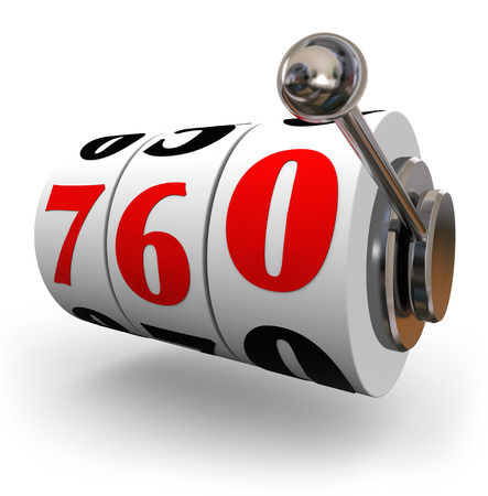 Number 760 on a slot machine wheel to illustrate a good or great credit score needed for applying for a loan or line of credit