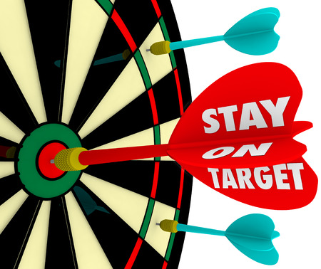 envision: Stay on Target words on a dart board to illustrate keeping your focus on the mission, objective or goal to achieve success