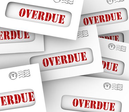 unpaid: Overdue word in envelopes to illustrate bills that are late in payment and creditors hitting you with penalties and fees