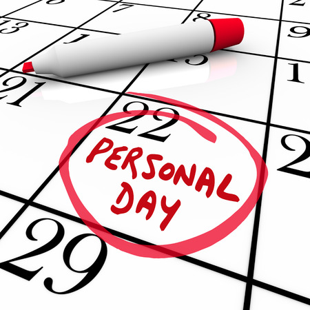 the day off: Personal Day circled on a calendar to remind you of your special time off or vacation date for a holiday from work Stock Photo