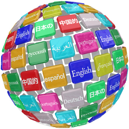 Many international languages in words on a sphere of tiles including English, Chinese, Japanese, Spanish, Russian, French and German photo