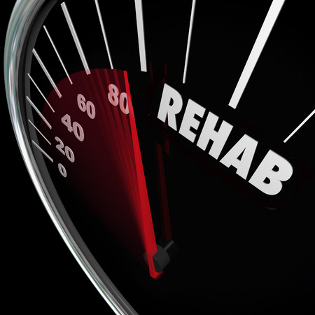 substance abuse: Rehab word on a speedometer to measure your cure or therapy from a physical accident or drug addiction