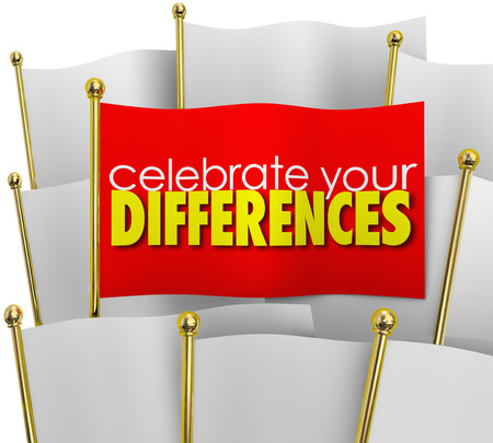 differentiation: Celebrate Your Differences word on a unique flag among many same flags to illustrate pride in being different or special and standing out in a crowd