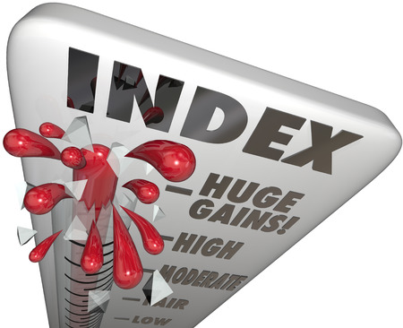 indexed: Index word on a thermometer to illustrate a change in performance over a given period, such as consumer confience or price inflation