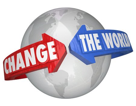 Change the World arrows around Earth solving problems helping or assistance in fixing trouble across the planet photo