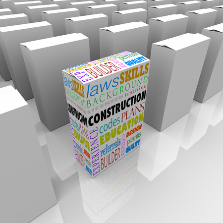 permits: Construction words on a box for you to choose the best licensed builder or contractor to work on your home or other building Stock Photo