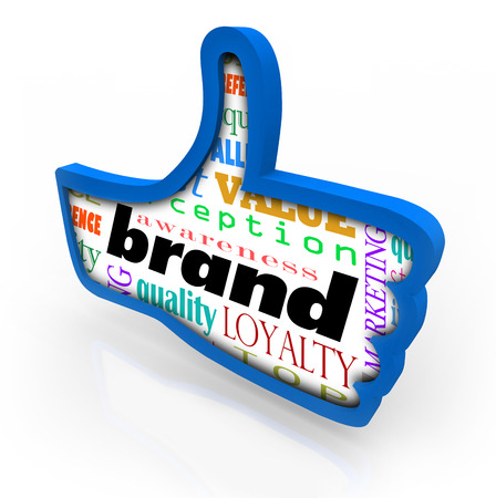 Brand word in a blue thumbs up symbol to illustrate making a product or company branding identity a favorite  photo