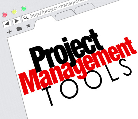site manager: Project Management Tools words on a website screen as an online resource for helping your organize tasks and jobs
