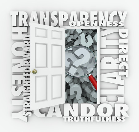 honest: Transparency door opening to show a magnifying glass on question marks with other words like openness, candor, truthfulness and honesty