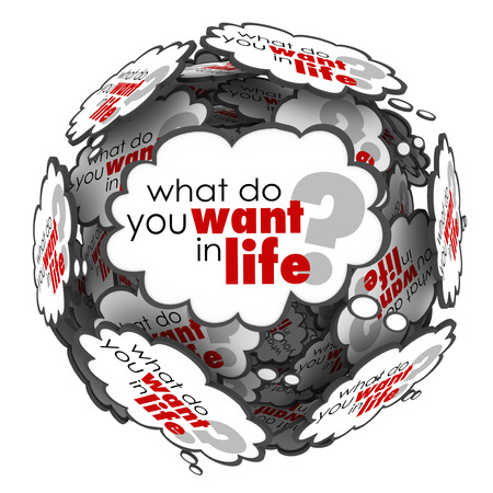 What Do You Want in Life words as a question in thought clouds in a sphere to ask for your goals, ambitions, dreams and desires for success and acheivement