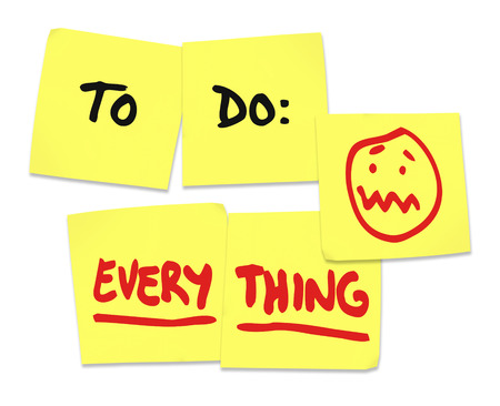 to do list: To Do list on yellow sticky notes and word Everything to illustrate being stressed and overworked in your job or in life