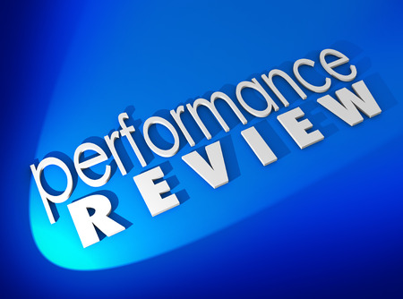 evaluated: Performance Review in white 3d letters on a blue