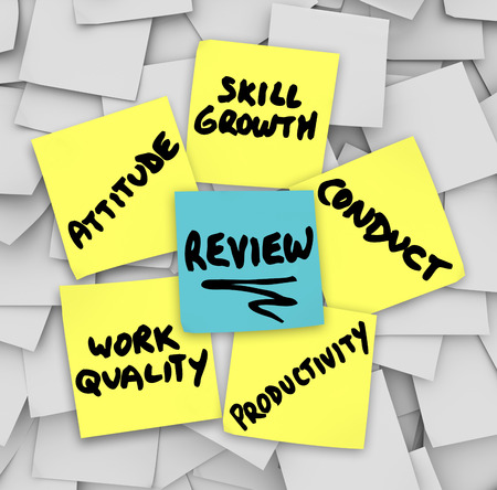 review: Performance Review words on yellow sticky notes including attitude, work quality, skill growth, productivity, conduct and attitude
