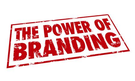 De Kracht van Branding woorden in een rode stempel met loyaliteit, erkenning, identiteit en marketing waarde van een bedrijf of handelsnaam illustreren