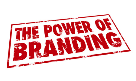 The Power of Branding words in a red stamp to illustrate loyalty, recognition, identity and marketing value of a company or business name