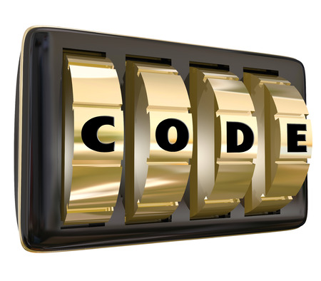 Code word in letters on a set of dials on a lock to illustrate confidential, restricted, classified information or access