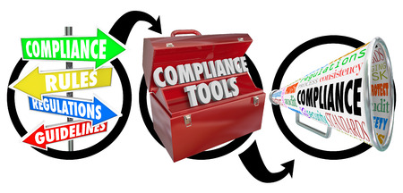 governing: Compliance steps in three step diagram with signs, toolbox and megaphone to illustrate advice on following rules, regulations and guidelines to comply with laws and standards Stock Photo