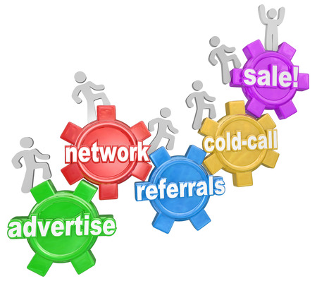 referrals: The steps of selling and growing a business as words on gears including Network, Advertise, Referrals, Cold Call and Sale