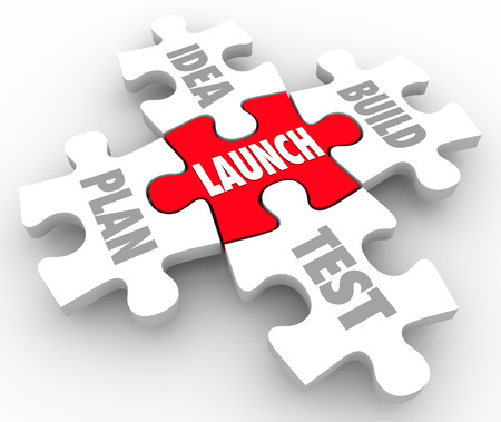 founding: Launch puzzle pieces start new business steps including words Idea, Build, Plan and Test
