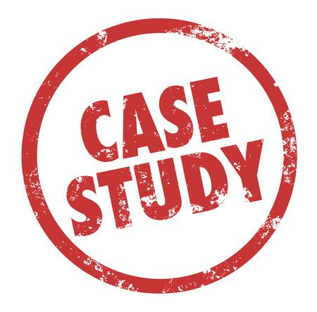 Case Study woorden in een cirkel of een ronde stempel met rode inkt op een bedrijf voorbeeld of anekdote symboliseren een principe of les te illustreren