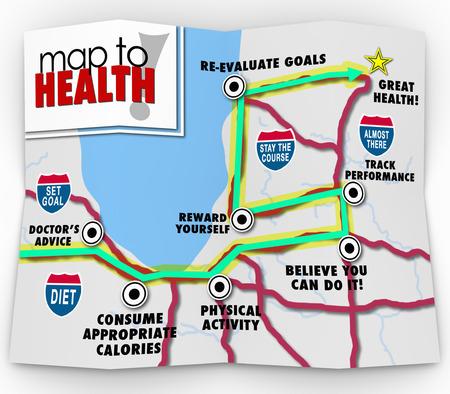 buena salud: Una hoja de ruta para la buena salud con un recorrido marcado por las palabras el consejo del doctor, de consumo de calor�as adecuadas, la actividad f�sica, crees que puedes hacerlo, disfrute de la recompensa, objetivo establecido y rendimiento en la pista