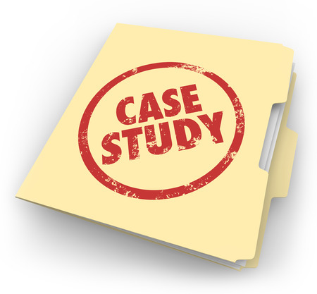 Case Study words stamped in red ink on a manila file folder to illustrate a good example or best practice to explore, read or study Banco de Imagens