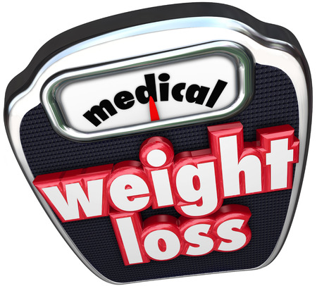 nutritional: Medical Weight Loss words on a scale to illustrate losing weight on a diet with the help of doctors and professional supervision including medicine and nutritional plan