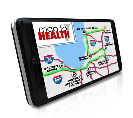 diet plan: Map to Health application, program or software on a smart phone to navigate the way or route to a healthy lifestyle with diet and exercise tracking information Stock Photo