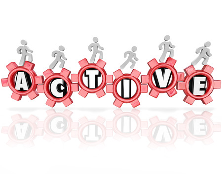 Active word in red gears and people walking, running or jogging to illustrate physical activity, fitness and exercise as part of a healthy lifestyle photo
