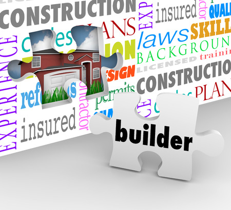 Builder word on a puzzle piece to complete a wall symbolizing the steps in building a home or house such as contracting, code, permit, insurance, design, plans and more Reklamní fotografie