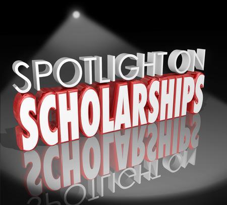 Spotlight on Becas palabras en letras 3d para ilustrar cómo solicitar y ganar ayuda pago de la matrícula para la educación universitaria
