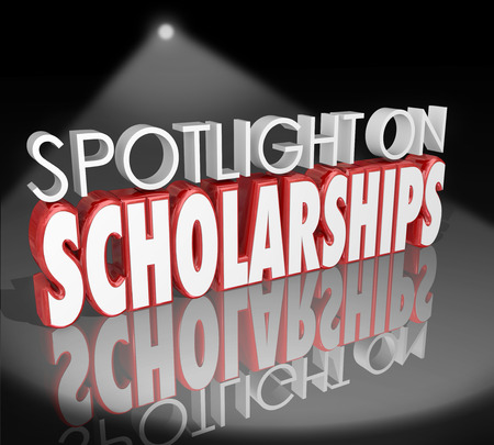 Spotlight op Beurzen woorden in 3d letters om te illustreren hoe aan te vragen en win collegegeld betalen hulp voor hbo-opleiding Stockfoto