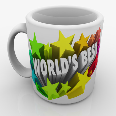 greatest: Worlds Best words and colorful 3d stars on a white ceramic mug given as a prize to the top employee, boss, parent or performer in a job Stock Photo