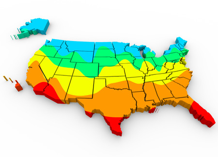 hottest: A map of the  United States of America with regions color coded to illustrate average temperatures with hottest areas in red and coldest in blue