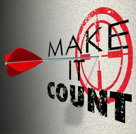 ターゲットまたは雄牛の目と勝利、達成と成功するために結果を得ることを象徴するセンターを押す矢でそれは Count の単語数を作る 写真素材