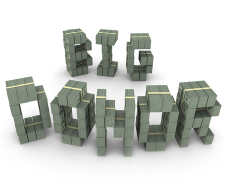 Big Donor words with letters made of money or cash piles and stacks to illustrate your top financial supporter, fundraiser, patron, backer or benefactor