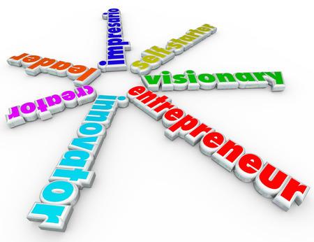 creador: Palabras Empresario 3d incluyendo innovador, creador, l�der, empresario, persona emprendedora y visionaria para simbolizar a alguien que comienza un nuevo negocio