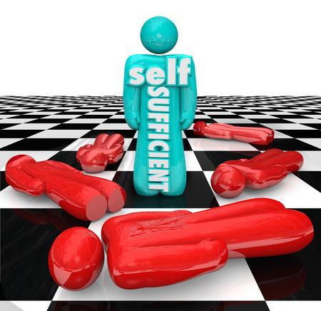 autonomia: Auto palabras suficientes en una persona o pieza de juego en un tablero de ajedrez para ilustrar el poder de ser independiente y entender las cosas por su cuenta