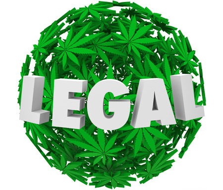 Legal word in 3d letters on a ball or sphere of marijuana or cannibas leaves to illustrate the legalization movement for prescription use and pain relief photo