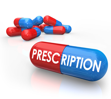 prescribed: Prescription word on a 3d red and blue capsule or pill as prescribed medical treatment for a disease, sickness or disorder Stock Photo