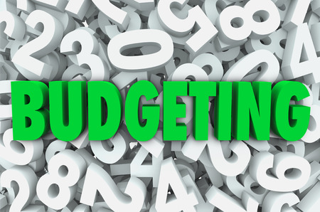Budgeting word in 3d green letters on a background of numbers to symbolize creating a budget plan for finances and saving money for the future Reklamní fotografie - 29613329