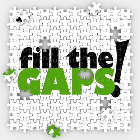Vul het gat woorden op puzzelstukjes vertellen u het volledige plaatje compleet met een totale dekking in verzekering of andere programma